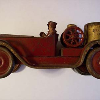 Old Tin Metal Red Car Fire Truck