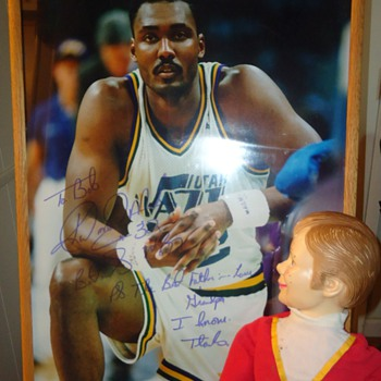 "Karl Malone ""The Mailman""  giant, signed poster to father in law from Goodwill Santa Rosa Ca. - Basketball"