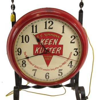Keen Kutter Clock on Wrought-Iron Stand