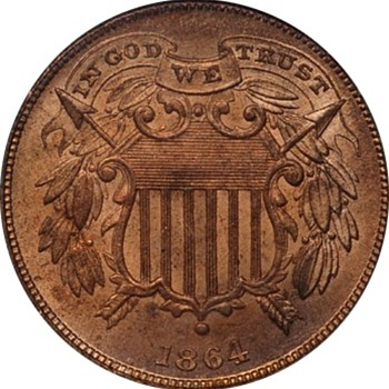 1864 Two Cent Piece with Small Motto IN GOD WE TRUST  - US Coins