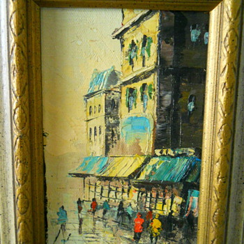 Small Street Scene Oil - New Flea art