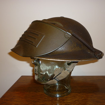British WWII steel helmet. Incendiary bomb disposal. - Military and Wartime
