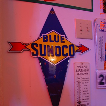 Blue Sunoco Porcelain Pump Plate Sign...Four Colors
