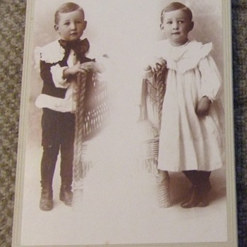 Double exposure cabinet card of boy in DRESS and Pants!