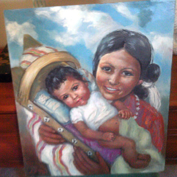 Beautiful Native Painting Of Mother &amp; Child