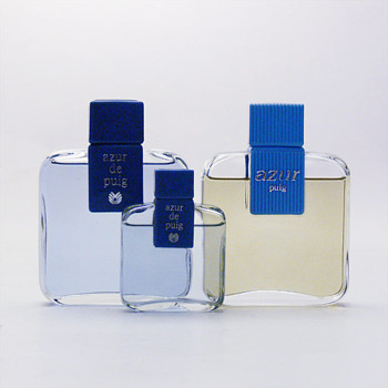 Bottle of AZUR eau de cologne. Andr Ricard (1978, ca. 1985, 1991, ca. 2000)