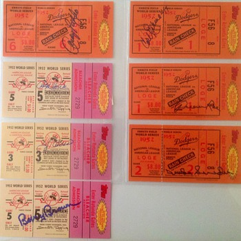 Baseball Ticket reprints from Topps Autographed