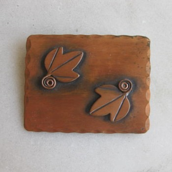 2 leaf copper plaque pin by Rebajes - Costume Jewelry