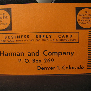 An older Business reply card