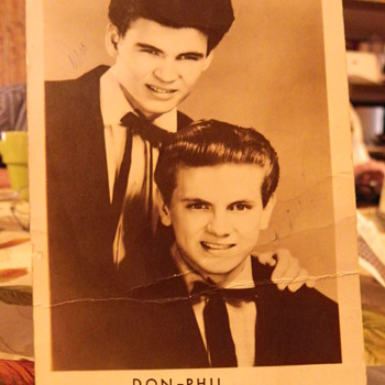Everly Brothers 1956 extremely rare post card, signed.