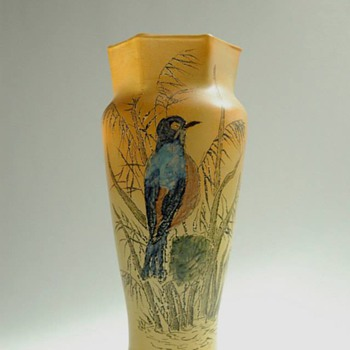 french art nouveau  enamel glass vase by FRANCOIS THÉODORE LEGRAS (1839-1916)