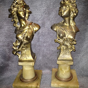 French Art Nouveau statues.  Joan d'Arc & Genevieve - Figurines