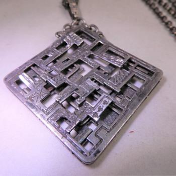 MID CENTURY BRUTALIST MODERIST SILVER PENDANT,C1960,UNUSUAL MAKERS MARK - Fine Jewelry