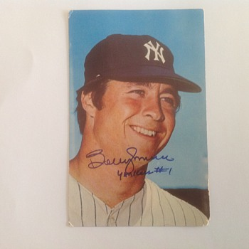 Bobby Murcer 1970 photo postcard autographed - Baseball