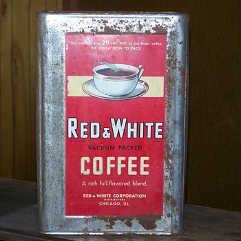 Red & White 20 lb. Coffee Tin - Advertising