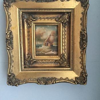 2 Miniature Paintings Signed:  1-R.T & 2: J.W - Visual Art