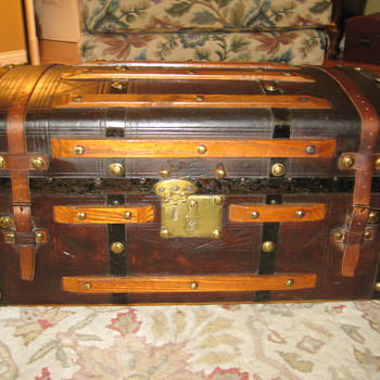 Mid 1800's Leather Covered Trunk - Furniture