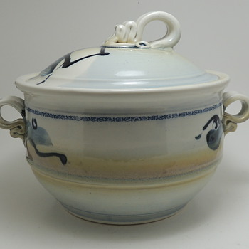 Modern Glazed Crock with Lid and Interesting Handles - Anyone Recognize the Signature?