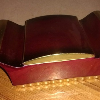 "Made in England ""Rouge Royal"" dressing table lidded trinket box in deep rich colours. - China and Dinnerware"