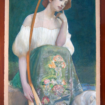 1904 Léo-Paul-Samuel Robert Symbolist Painting - Woman w/ Long-necked Lute
