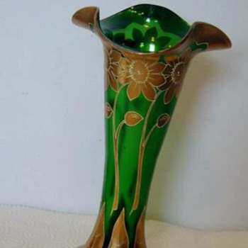 Boheimian Green/Gold Vase - Art Glass