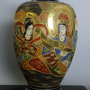 Taisho-Showa Period Japanese Gilt, Cobalt Figural Satsuma Vase (Museum Collection Piece)