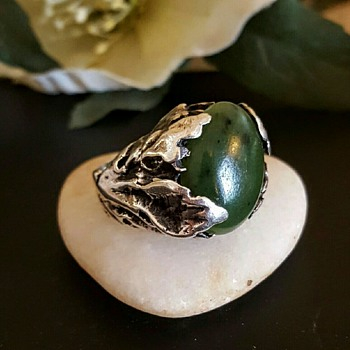 Organic/modernist sterling nephrite jade ring, signed S B.