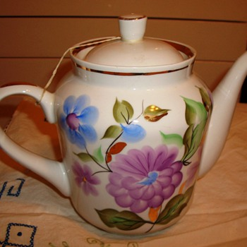 Vintage Hand Painted Russian Tea Pot Signed Bpook 10 L  -Gold Gilt - Kitchen