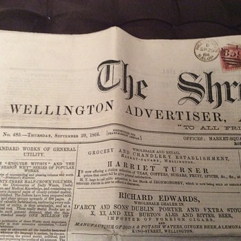 1864 Newspaper, The Shropshire News - Paper