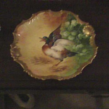 CORONET LIMOGES FRANCE GOLD TRIM DUCK PLATE - China and Dinnerware