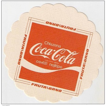 Coca Cola vintage thin paper coaster from Czechoslovakia - Coca-Cola