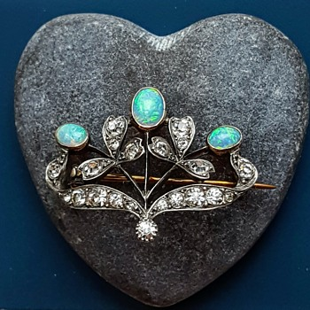Antique 925 silver, pastes and opals brooch, MYSTERIOUS MAKER AGAIN! - Fine Jewelry