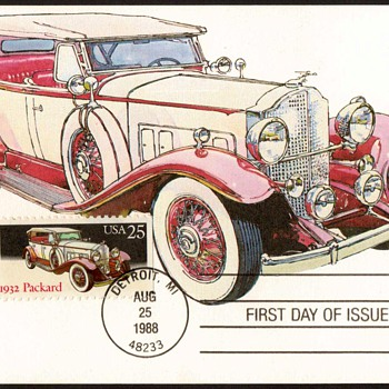 "1988 - ""1932 Packard"" - First Day Issue Stamped Card - Stamps"