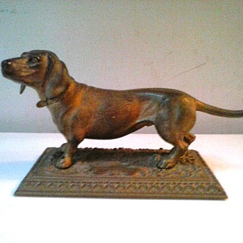 "Brass Or Bronze Dachshund Sculpture/ Possibly A.B. Jennings Bros. ""Nouveau Bronze"" Unmarked/Circa 19th-20th Century - Visual Art"