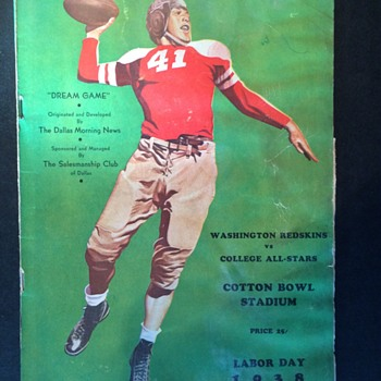 1938 Washington Redskins Program COTTON BOWL All-Stars