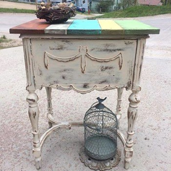 Can anyone identify this sewing machine cabinet that has been repurposed