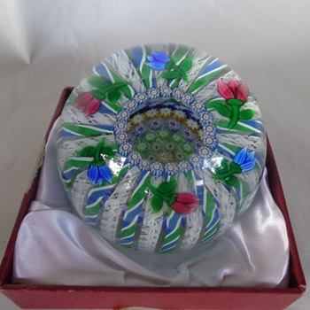 Perthshire Peter McDougall Paperweight  Ribbon Twists Latticinio Rods Millefiori