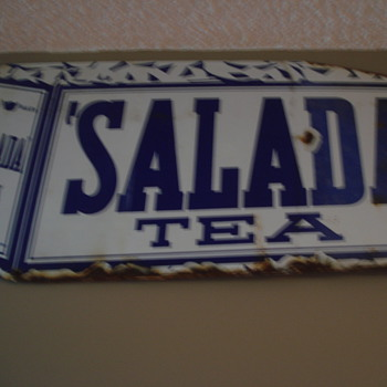 VINTAGE SALADA TEA PORCELAIN SIGN!