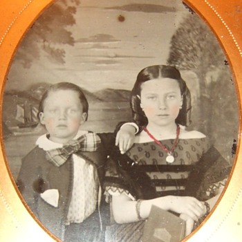 Cute siblings tintype - Photographs