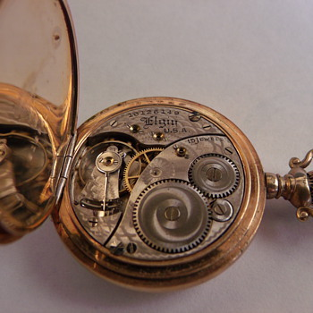 "Size ""0"" Elgin 14k Pocket Watch and Ribbon Fob"