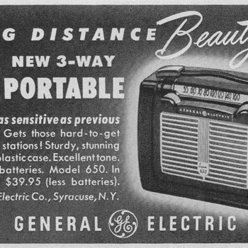 1950 - General Electric Model 650 Radio Advertisement - Advertising