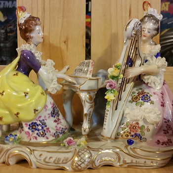 Volkstedt Dresden Ladies Piano and Harp - Figurines