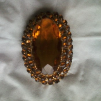 Czech citrine glass Pin - Costume Jewelry