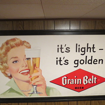 Nice Grain Belt Beer paper poster from the 50's. - Breweriana