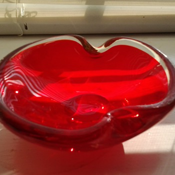 Red and Clear Glass Ashtray