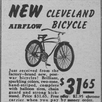 1946 - Cleveland Bicycle Advertisement