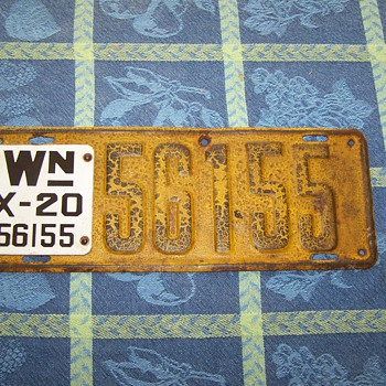 1919 - 1920 Washington State Auto License Plate