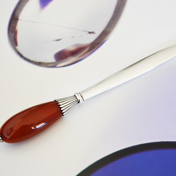 Georg Jensen Sterling Letter Opener with Carnelian Handle - Office