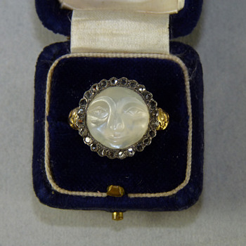 "Georgian ""Man in the Moon"" Moonstone and Diamond Betrothal Ring - Fine Jewelry"