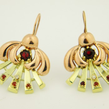 Antique Deco Diamond Garnet 14k Rose/Yellow Gold Earrings